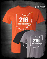 216 Made In Cleveland Ohio T-Shirt Believeland Cavs Browns Indians The Land Fan