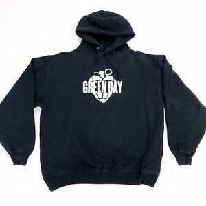 VTG Green Day Black Hoodie Sweatshirt Size Large L American Idiot Heart Grenade