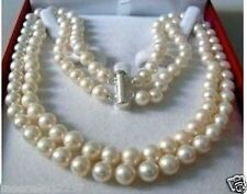 8-9mm 2 Rows Genuine white freshwater PEARL NECKLACE 18""