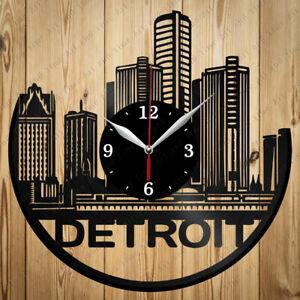 Vinyl Clock Detroit City Original Vinyl Clock Art Home Decor Handmade Gift 4380