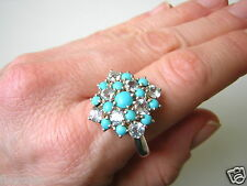 Sterling Ring Silber 925 mit Blautopasen Blau Topas 7,1 g / 20,6 mm