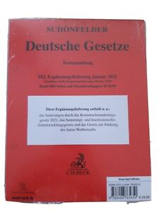 Schönfelder Deutsche Gesetze Textsammlung 182. Ergänzungslieferung Januar 2021