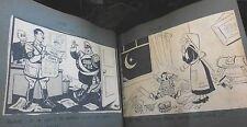 WW2 1940 Sketch Book Scrap Original Newspaper Clips Caricature Comic war time