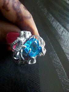 Aqua Blue & White Stone 925 Sterling Silver Unique Mermaid Designed Wedding Ring