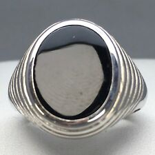 """STUNNING 925 STERLING SILVER OVAL """"ONYX"""" PATTERNED SIGNET RING   SIZE """"S""""   066"""