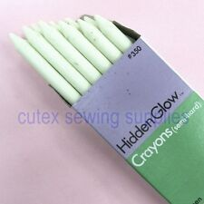 Green Hidden Glow Invisible-Fluorescent Pencil Crayon Fabric Marker - 12 Pack