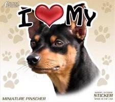 """I Love My Min Pin Dog 4"""" Car Truck Home Vinyl Sticker Decal Miniature Pinscher"""