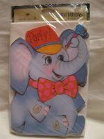 Vintage Hallmark Elephant PARTY Invitations Cards 8 Pack Unused