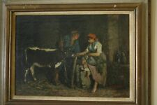"""Antique Original Oil Painting by John Edmund Califano - """"Two women and a calf"""""""