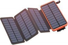 Riapow Solar Charger 25000mAh Portable Power Bank with 4 Solar Panels Waterproof