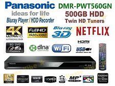 PANASONIC SMART 3D BLU-RAY PLAYER 4K 500GB HDD RECORDER TWIN TUNER DMR-PWT560GN
