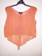 Ice Fashion Women's Orange Sheer Top. Sleeveless. Size - L.