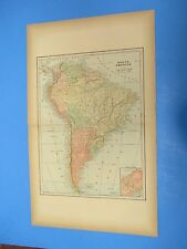 "1893 Popular Atlas Map 2 Page,South America Color,Suitable Frame 13 1/2"" X 22"""