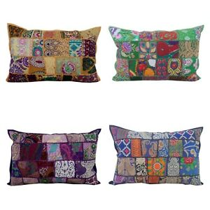 Indian Handmade Cushion Traditional Boho Vintage Patchwork Pillow Cover 40x60cm