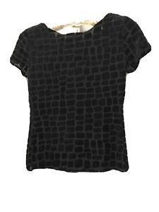 ARMANI Black Stretch Evening Top Velveteen Size IT 42 UK 10 Luxury Collezione