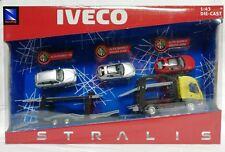 NEW RAY IVECO STRALIS BISARCA TRASPORTO AUTO CARRIER + 3 AUTO 1/43 NY15645 NUOVO