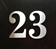 """Large 5.5""""/14cm stick-on classic house/door numbers 2mm brushed stainless steel"""