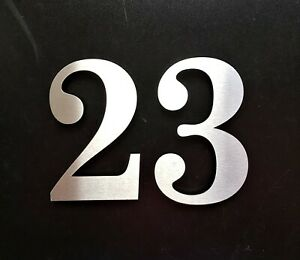 "Large 5.5""/14cm stick-on classic house/door numbers 2mm brushed stainless steel"