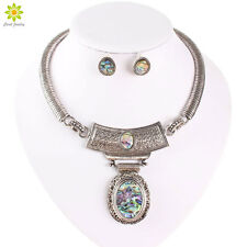 New Ethnic Jewelry Sets Tibet Silver Statement Big Oval Pendant Necklace Set