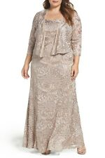 NWT $279 Alex Evenings A-Line Lace Gown & Jacket Dress Palamino Tan Plus Sz 14W