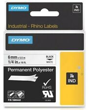 Newell (6mm) Permanent Polyester Tape (Black on White) for Dymo Rhino and Dymo