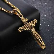 Women Mens Stainless Steel Cross Gold Silver Necklace Crucifix Square Rolo Chain