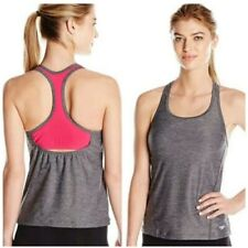 Speedo Power Pulse Swim Gym Tankini Top Heather Grey Pink Size 10