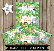 JUNGLE SAFARI ANIMALS BIRTHDAY PARTY PERSONALISED DIGITAL CHOCOLATE WRAPPERS