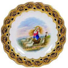Antiques Coalport Pierced Comport Plate Shepherd Sheep Group Circa 1870