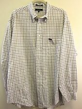 Faconnable Shirt XL Brown White Plaid Button Down Long Sleeve Extra Large Mens