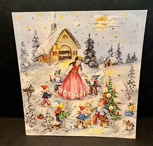 Vintage West Germany Christmas Advent Calendar - Gnomes & Princess