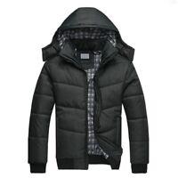 Men's Black Puffer Jacket Warm Overcoat Outwear Padded Hooded Down Winter Coat