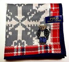 POLO Ralph Lauren Handkerchief hanky scarf bandana Bear Red Check Auth New