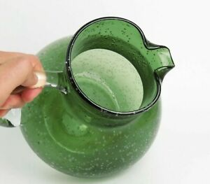 Hand Blown Bubble Glass Pitcher Green w/ Clear Applied Handle 1.4kg Handmade