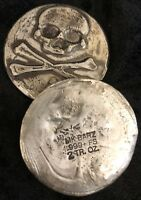"2 TR/OZ MK BarZ ""SKULL Relief Token"" .999 Fine Silver"
