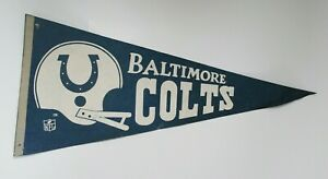 Vintage Baltimore Colts 1970s NFL Collectible Sports Football 29 Inch Pennant