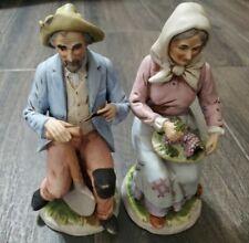 "Home Interior Homco Man and Lady Farmer set #1433 8"""