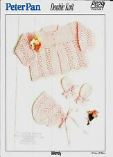Vintage Peter Pan P629 Baby Knitting Pattern, DK Bonnets Cardigan Mitts 12-20""