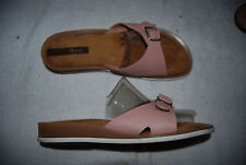 Pink Leather Open Toe BASS Low Wedge Slides w/Metal Buckle 11 M