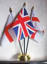 UNION JACK AND & ST GEORGE ENGLAND TABLE FLAG SET 3 flags plus GOLDEN BASE