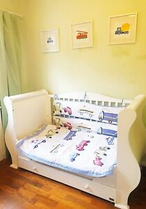 Pottery Barn Vehicles Trucks Cars Cot Bed Bumper Bedcover Nursery Bedding Set