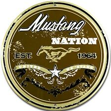 (Ford) Mustang Nation round metal wall sign  300mm diameter (sf)