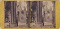 Melrose Abbey Scozia Scotland UK Foto Stereo Vintage Albumina Ca 1865
