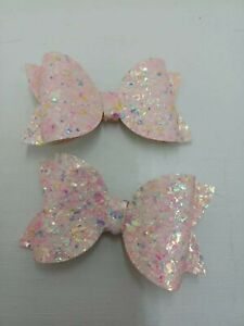 2 pink  speckled Hairbows  from 0.99p BARGAIN   .......NEW COLOUR