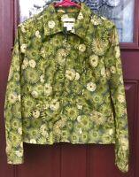 Christopher & Banks Lime Olive Green Gold Glitter Zip Up Jean Stretch Jacket S