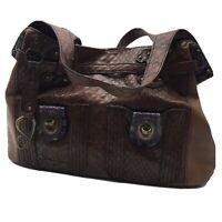Jessica Simpson brownleather large Gym duffle travel weekender bag