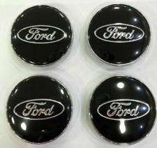 4 x 60mm Ford  Schwarz Chrome Alufelge Nabenkappen Nabendeckel Satz  NEU
