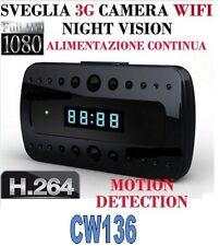 SVEGLIA SPIA TELECAMERA MICROCAMERA SPY CAM NIGHT VISION NASCOSTA 3G WIFI CW136