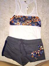Victoria Secret Pink Tee & Shorts set Bling Blue Sequin tropical floral cover uP
