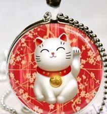 VETRO Cabochon attirando Giapponese Gatto Fortunato Maneki Neko Ciondolo Collana